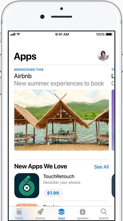 Вкладка «Приложения» включает рекомендации, видео, коллекции, категории и чарты