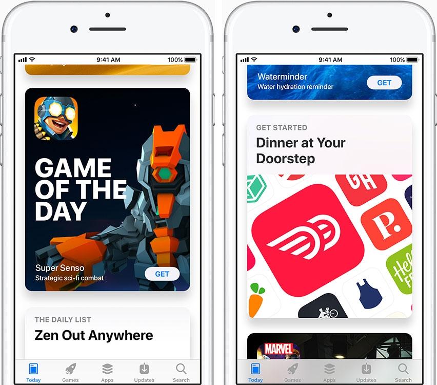 App Store включает оригинальные истории и статьи, ежедневно публикуемые на вкладке «Сегодня»
