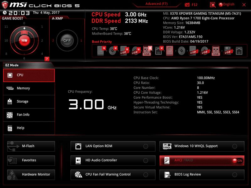 Главное меню Click BIOS 5