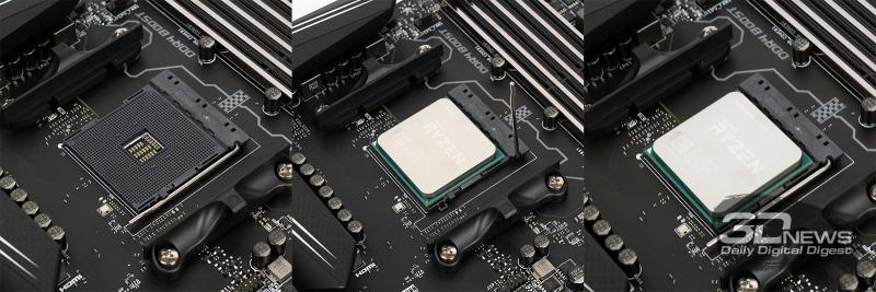 Установка центрального процессора AMD Ryzen в гнездо AM4