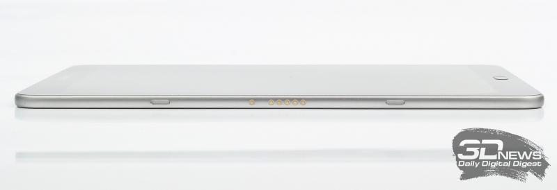 Samsung Galaxy Tab S3, левая грань: разъем POGO для клавиатуры