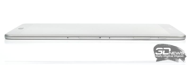 Samsung Galaxy Tab S3, правая грань: слот для карты памяти и nano-SIM, два микрофона и две клавиши: включения и регулировки громкости