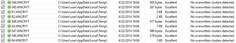 Переименованные оригинальные файлы, которые можно восстановить из директории %TEMP%