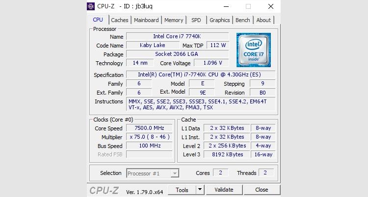 ov2 - Жидкий гелий помог разогнать процессор Core i7-7740K до 7,5 ГГц