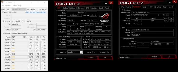Разгон нескальпированного Core i9-7900X до 4,8 ГГц