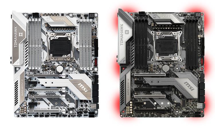 MSI X299 Tomahawk Arctic и X299 Tomahawk (справа)