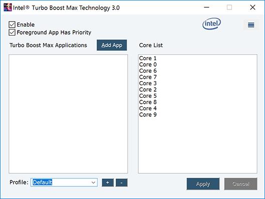 Драйвер Turbo Boost Max 3.0. Список ядер составлен по приоритету, сверху – более удачные