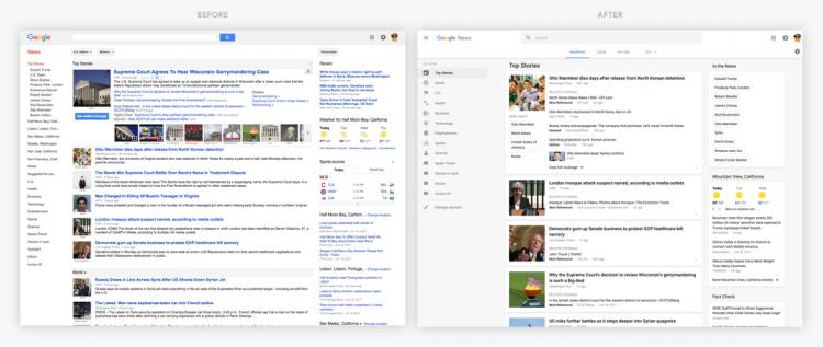 Старый и новый дизайн «Новостей Google»