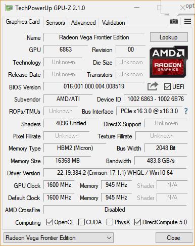 Версия драйвера определилась некорректно — использовался Radeon Vega Frontier Edition 17.6