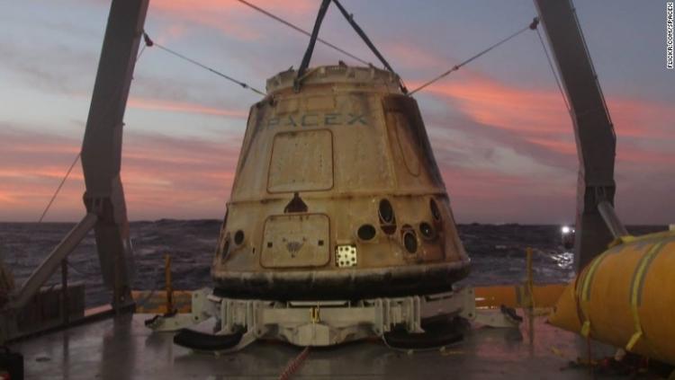 Dragon, использовавшийся в январе 2015 года в миссии по доставке груза CRS-5, был восстановлен в феврале 2015 года
