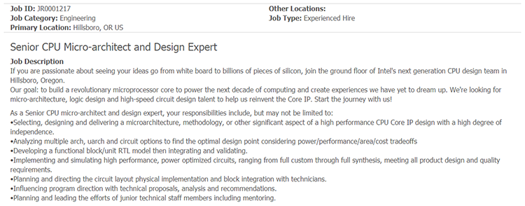 704 1 - Intel в поиске опытного проектировщика CPU