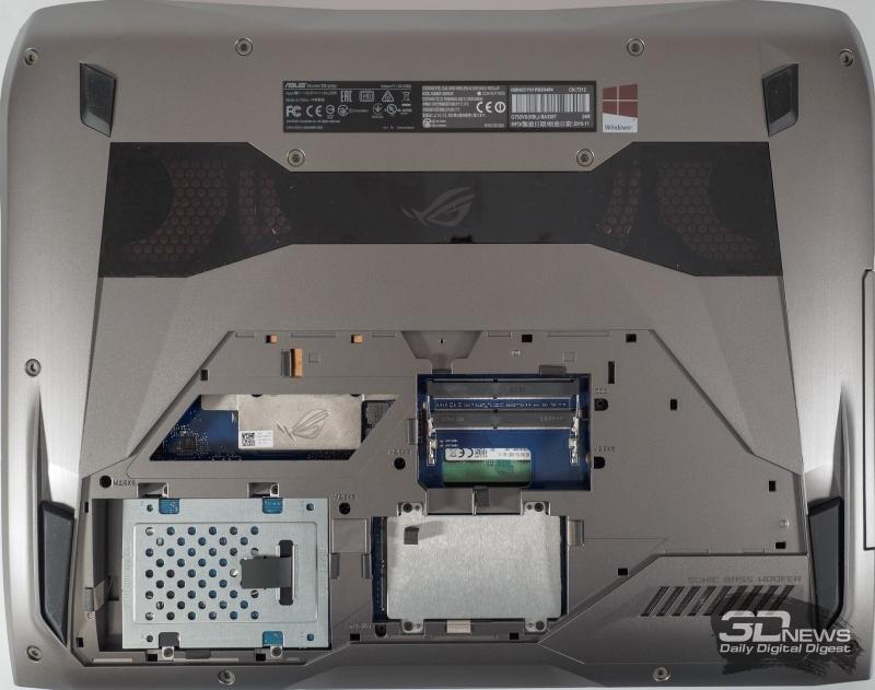 Доступ к накопителям и оперативной памяти у ASUS ROG G752VSK