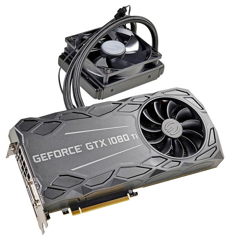 Видеокарта EVGA GeForce GTX 1080 Ti FTW3 Hybrid имеет два охладителя