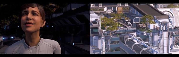 BioWare вырезала эту блуждающую блаженную улыбку Сары Райдер из вступительной сцены с демонстрацией корабля «Буря» (слева — было, справа — стало)
