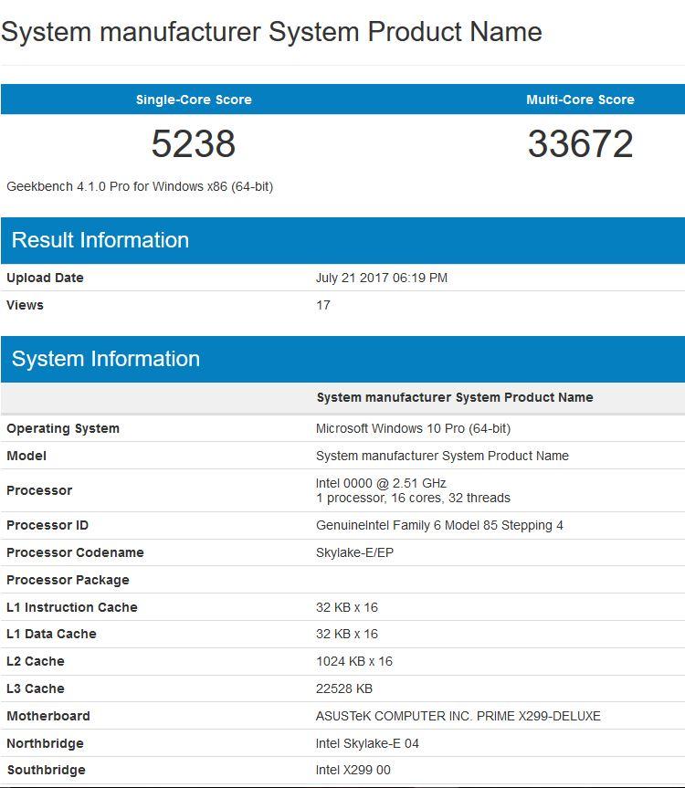 Результат теста Core i9-7960X