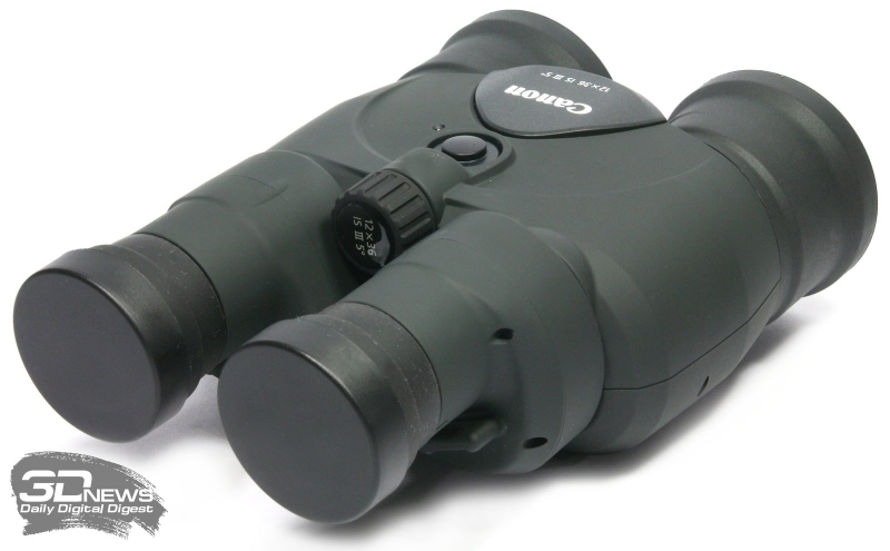Бинокль Canon 12x36 IS III с закрытыми крышками окуляров