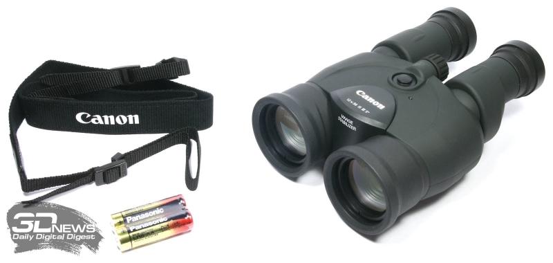 Комплект поставки биноклей Canon 12x36 IS III