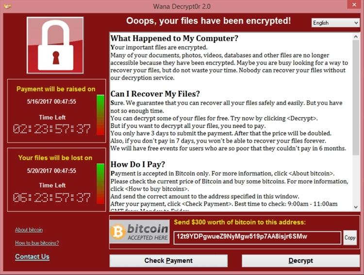 12 мая это окно увидели пользователи многих компьютеров по всему миру