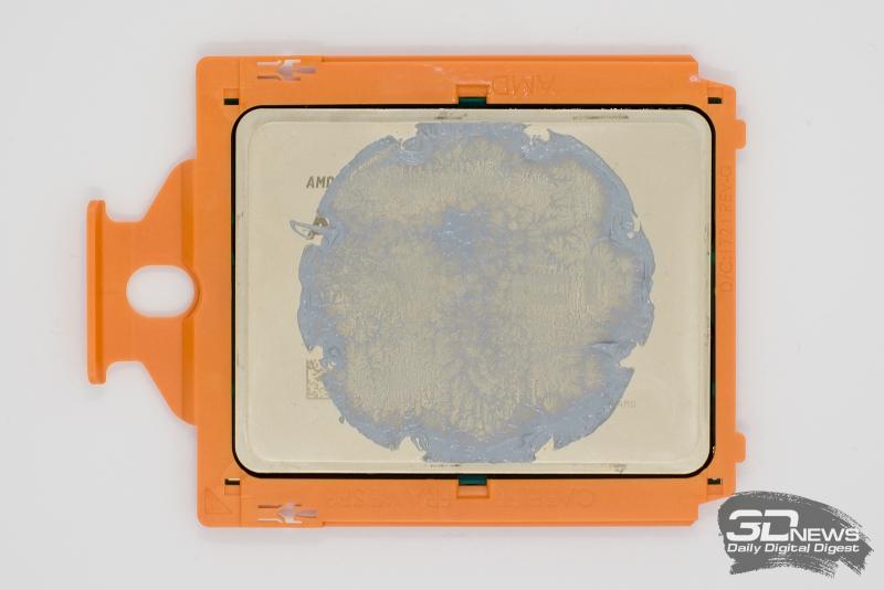 «Пятно контакта» водоблока Asetek с процессором AMD Ryzen Threadripper