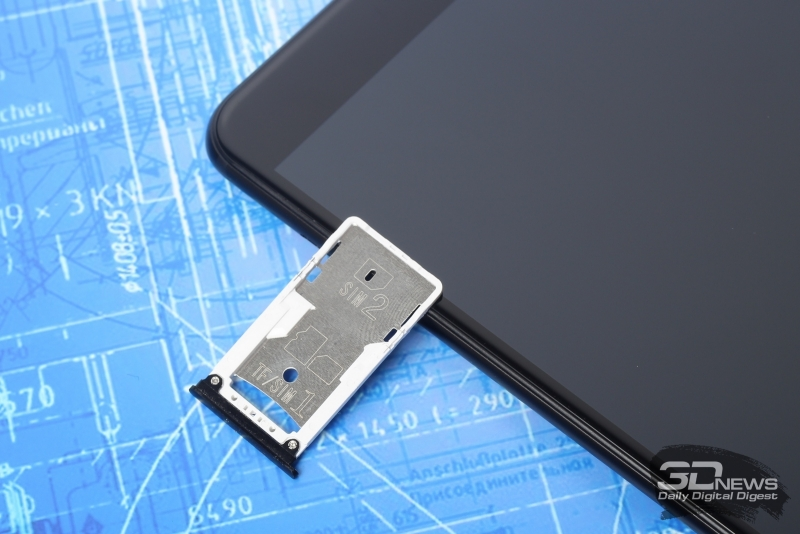 Xiaomi Mi Max 2, слот для SIM-карт и карты памяти