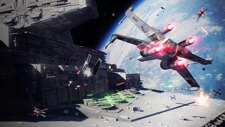 Star Wars: Battlefront 2: бои на истребителях в космосе