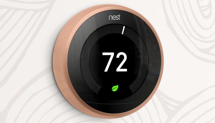 Современный термостат Nest с кольцом медного цвета