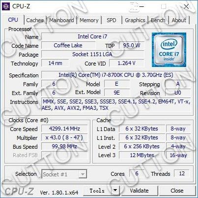 Для тестов использовался опытный образец (ES) процессора