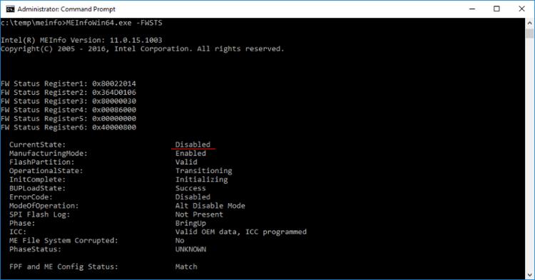 Статус IME после установки бита reserve_hap