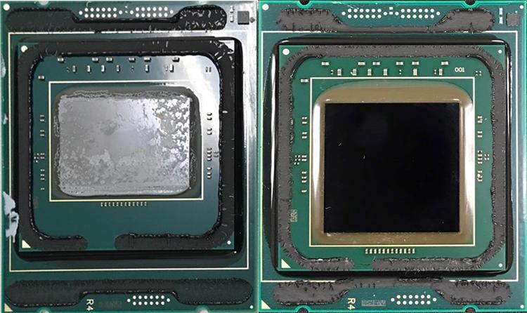 Сравнение кристаллов: Core i9-7900X (слева) и Core i9-7980XE (справа)
