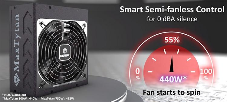 При температуре окружения 25 °C вентилятор стартует только по достижению БП 55 % номинальной мощности