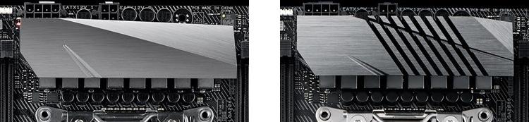 Радиаторы ROG Strix X299-E Gaming и ROG Strix X299-XE Gaming (справа)