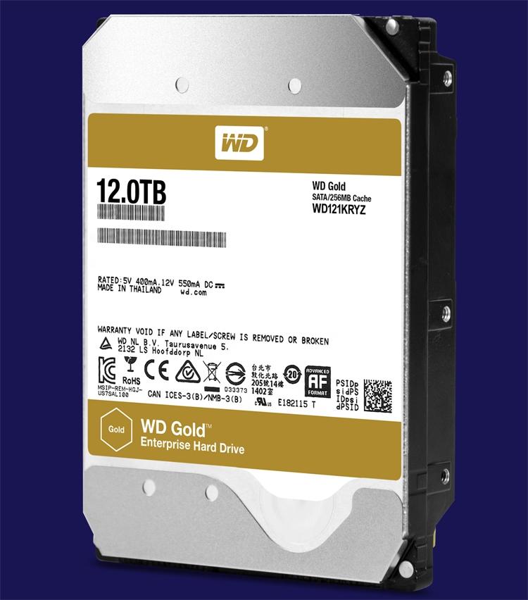 В семействе жёстких дисков WD Gold появилась модель вместимостью 12 Тбайт