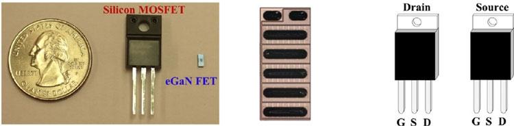 Слева для сравнения 200-В обычный Si (кремниевый) MOSFET и 200-В eGaN FET, а справа исполнение для 600-В GaN приборов (www.researchgate.net)