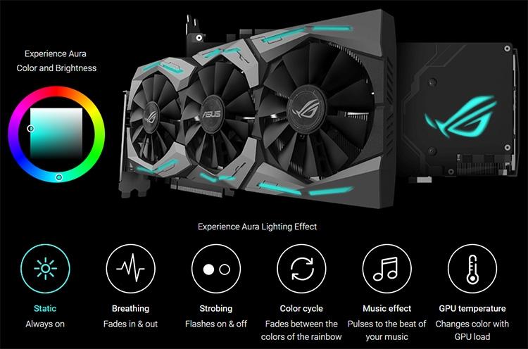 Видеокарта украшена множественными элементами RGB-подсветки