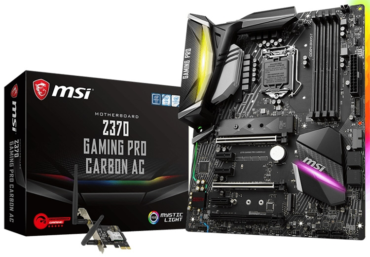 К Z370 Gaming Pro Carbon AC прилагается карта Intel Dual Band Wireless-AC 8265