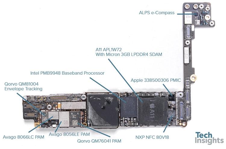 Оборотная сторона основной платы iPhone 8 Plus