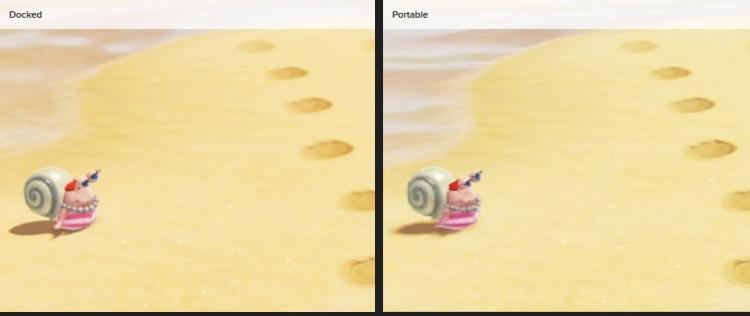 Детальное сравнение картинки в стационарном и портативном режимах (тени явно хуже)