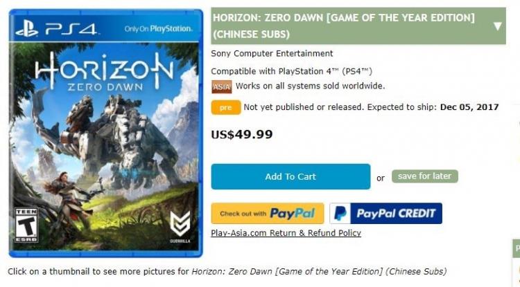 """Слухи: Horizon Zero Dawn получит GOTY-издание"""""""