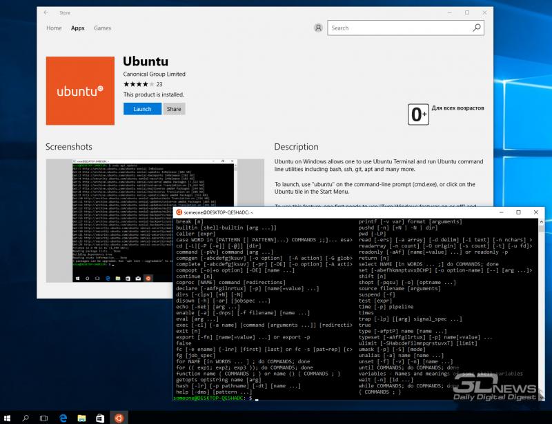 Разработчики Microsoft проделали огромную работу по интеграции Linux в Windows