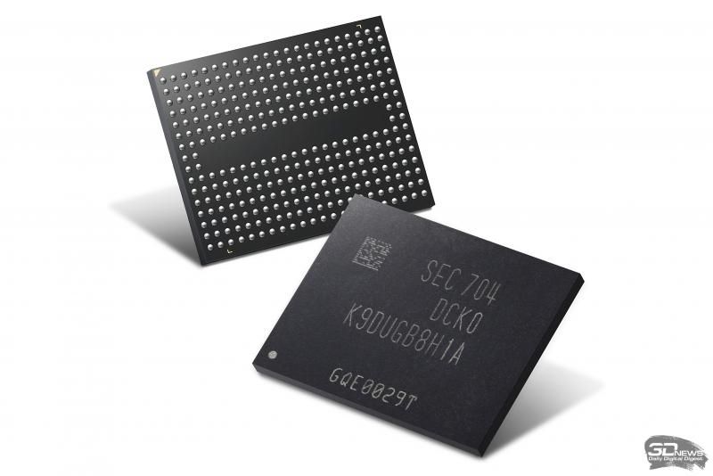 Микросхемы 64-слойной TLC 3D V-NAND производства Samsung