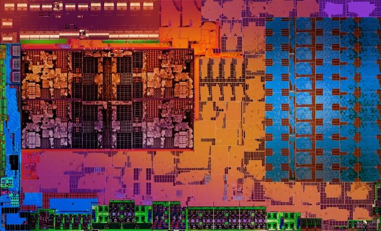 Слева выделяется блок из 4 ядер Zen, справа — блок GPU