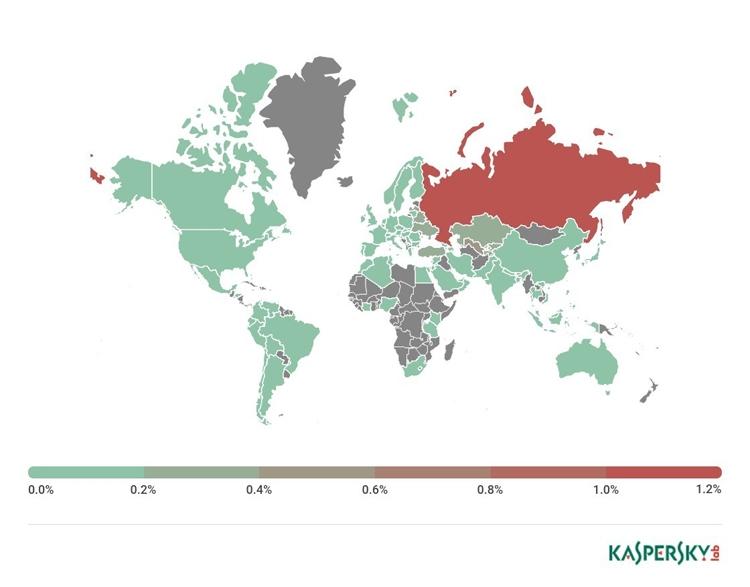 География мобильных банковских угроз в третьем квартале 2017 года (процент атакованных пользователей)