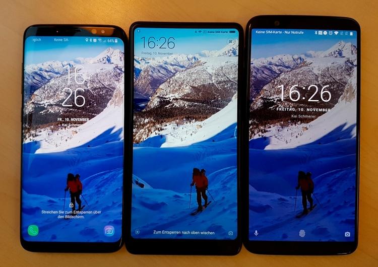 Слева направо: Samsung Galaxy S8, Xiaomi Mi MIX 2, OnePlus 5T