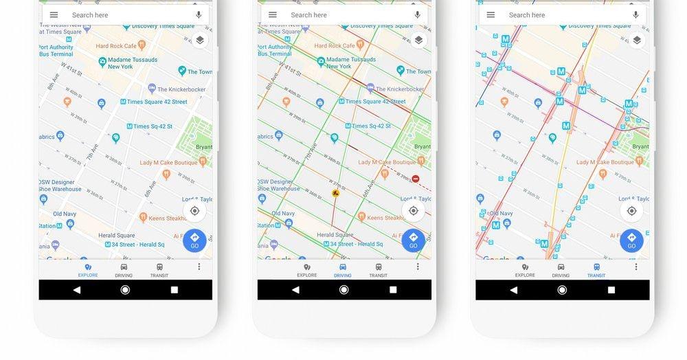 Карты Google обновляют цветовую схему