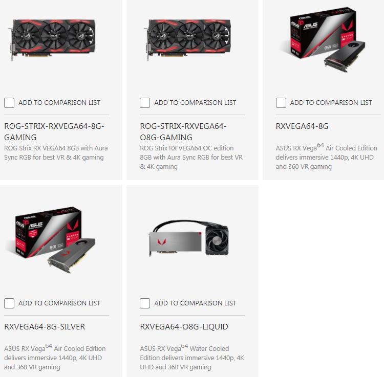 Июльский скриншот раздела сайта asus.com с видеокартами Radeon RX Vega 64