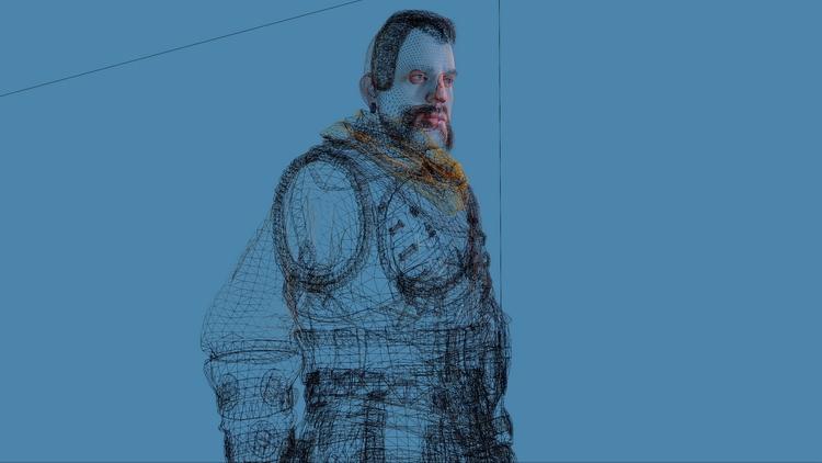 Скриншот модели одного из персонажей, демонстрирующий их сложность.