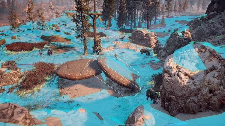 Синим показаны области, по которым могут перемещаться персонажи и враги. Это динамическая система: в зависимости от изменений местности корректируются маршруты NPC и противников.