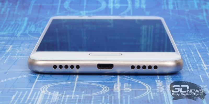 ASUS Zenfone 4 Max (ZC520KL), нижняя грань: порт microUSB, основной динамик, микрофон