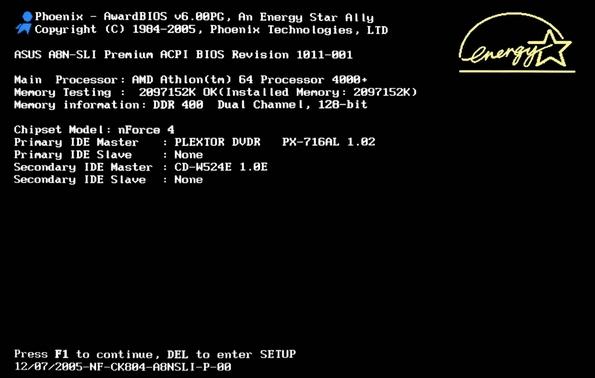 Привычный загрузочный экран типового BIOS