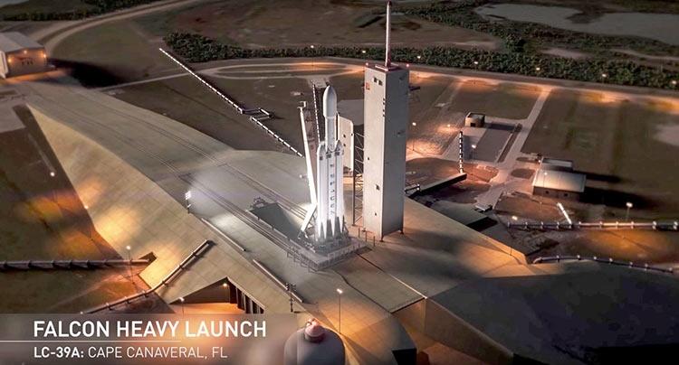 запуск spacex falcon heavy tesla roadster